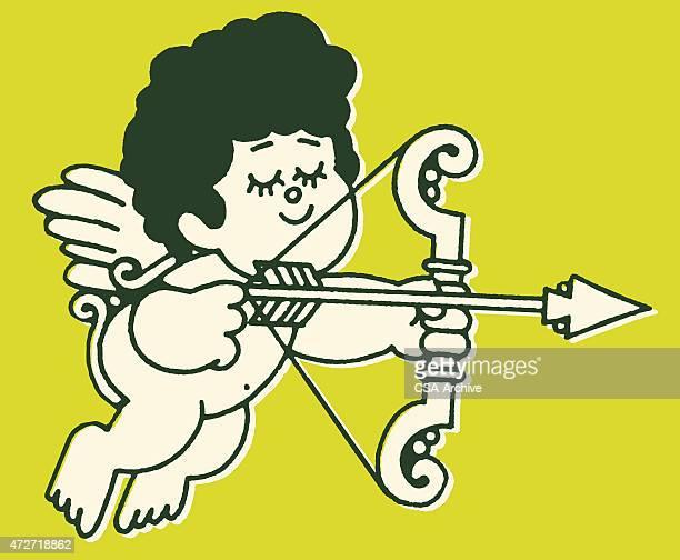 cupid and his arrow - cherub stock illustrations