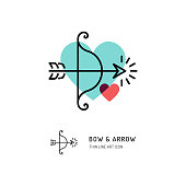 Cupid bow and arrow Archery line icons, Wedding and Valentines day sign, Love symbols, Vector flat illustration