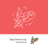 Cupid colorful line art icons, Love symbol. Wedding and Valentines day icon, Vector flat illustration