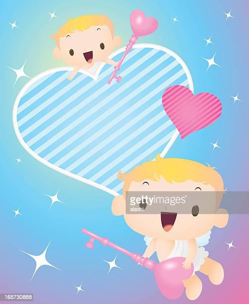 illustrations, cliparts, dessins animés et icônes de cupidon volant ciel étoilé, tenant la clé de l'amour, ouvrez votre cœur - cupidon humour