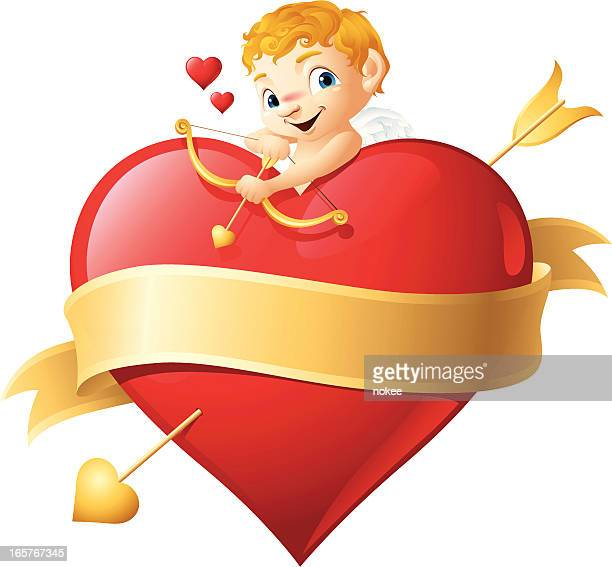 stockillustraties, clipart, cartoons en iconen met cupid - happy valentine's day - cupidon