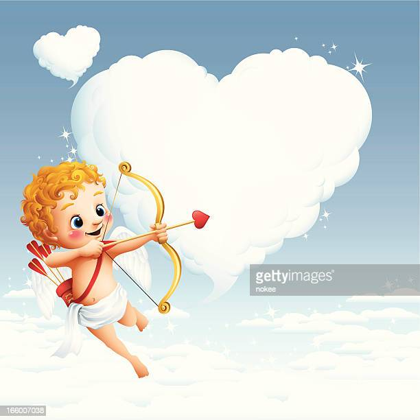 cupid - heart cloud - cupid stock illustrations