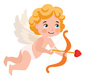 Cupid isolated on white background. Vector illustration.