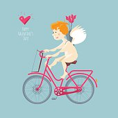 Cupid riding a bike. Happy Valentine's day.