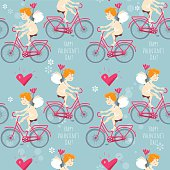 Cupid riding a bike. Seamless background pattern.