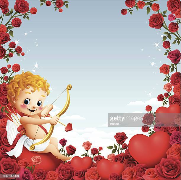 cupid - rose border - cupid stock illustrations