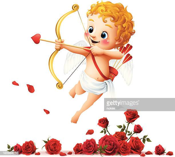 stockillustraties, clipart, cartoons en iconen met cupid - roses - cupidon
