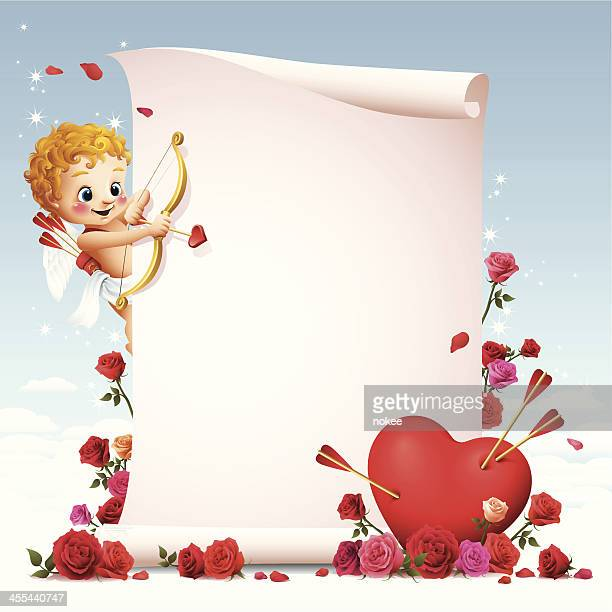 stockillustraties, clipart, cartoons en iconen met cupid - scroll - cupidon