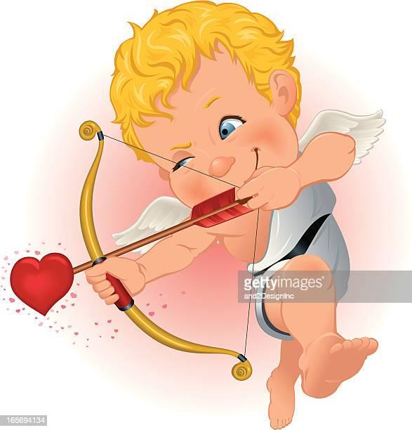 cupid takes aim - cupido stock illustrations