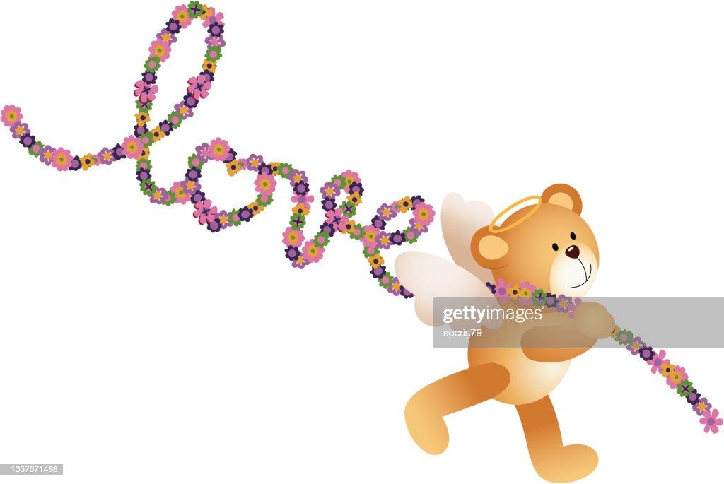 Cupid teddy bear with word love shaped flowers