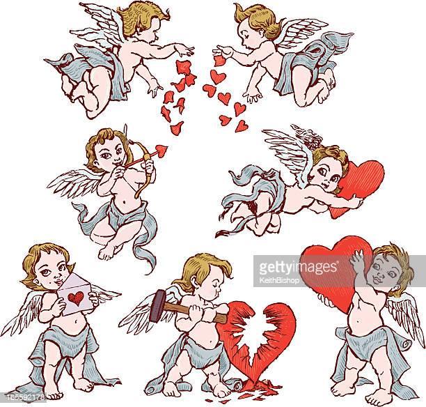 illustrations, cliparts, dessins animés et icônes de collection de cupidon pour la saint-valentin avec coeur - cupidon and saint valentin
