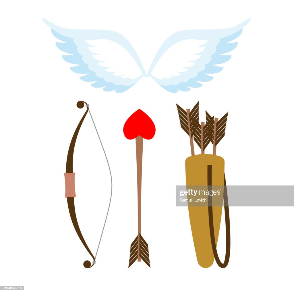 Cupid weapons set . Bow and arrow with heart.