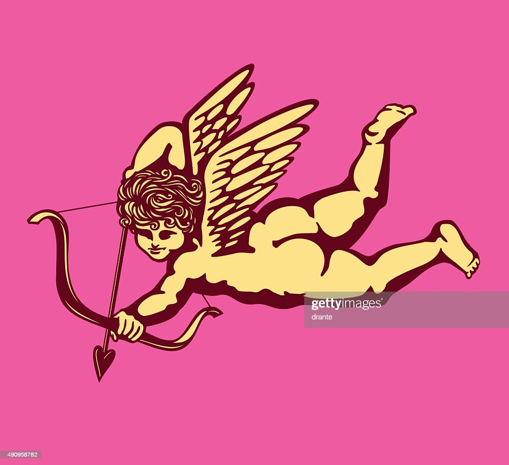 Cupid winged angel bow and arrow vector, Eros god love
