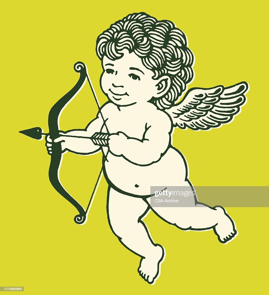 Cupido con arco y flecha : Ilustración de stock