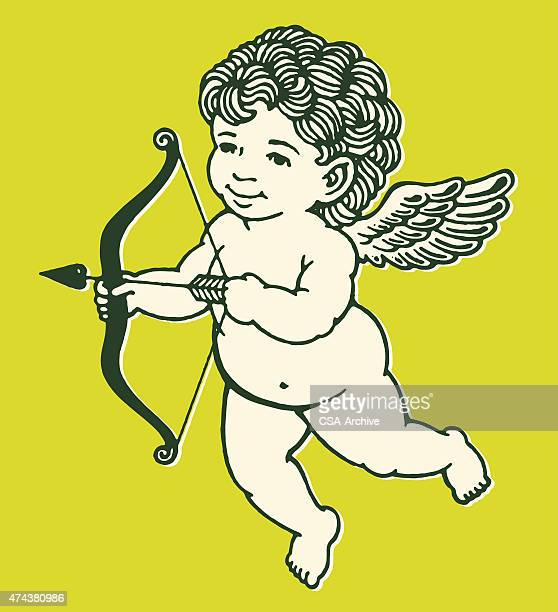 stockillustraties, clipart, cartoons en iconen met cupid with bow and arrow - cupidon