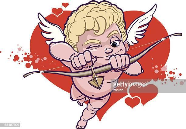 illustrations, cliparts, dessins animés et icônes de cupidon avec nœud vise à sa cible - cupidon humour