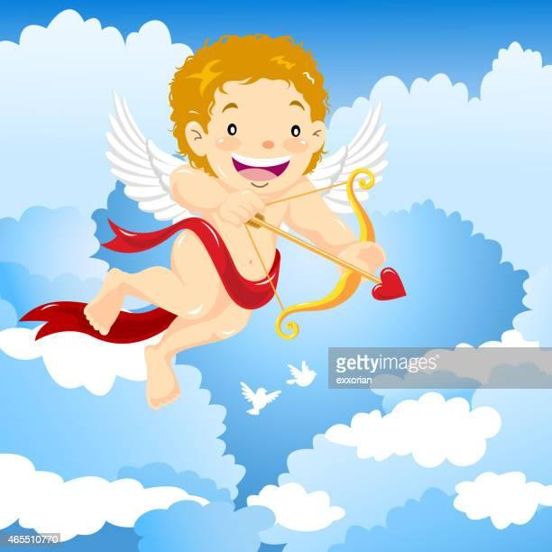 """cupid """"s arrow fly den valentinstag - cupidon stock-grafiken, -clipart, -cartoons und -symbole"""