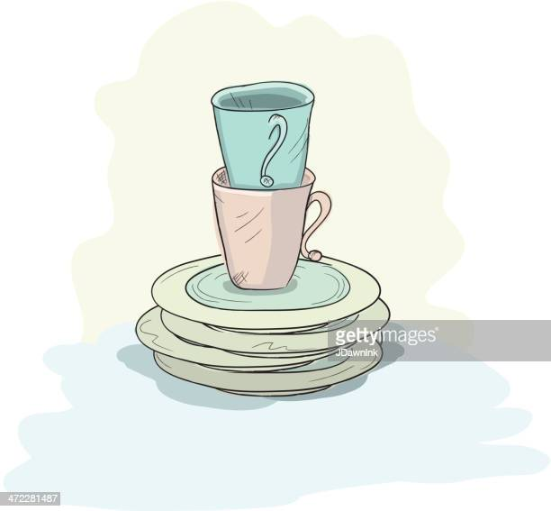 cups and plates - washing dishes stock illustrations, clip art, cartoons, & icons