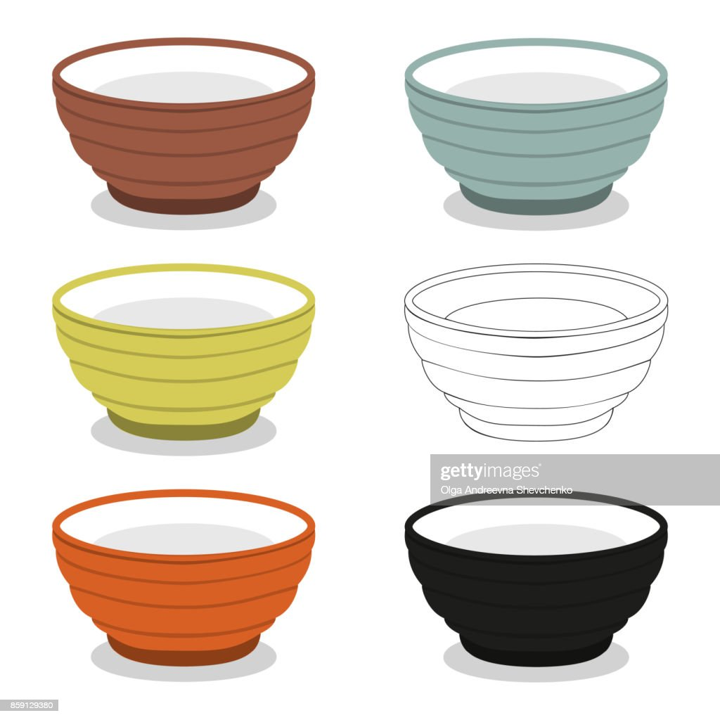 Cups or bowl of different cly types illustration set