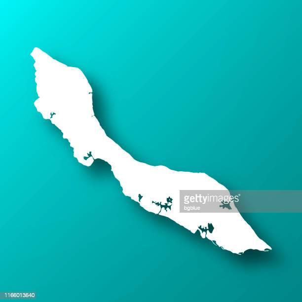 stockillustraties, clipart, cartoons en iconen met curaçao kaart op blauw groene achtergrond met schaduw - curaçao