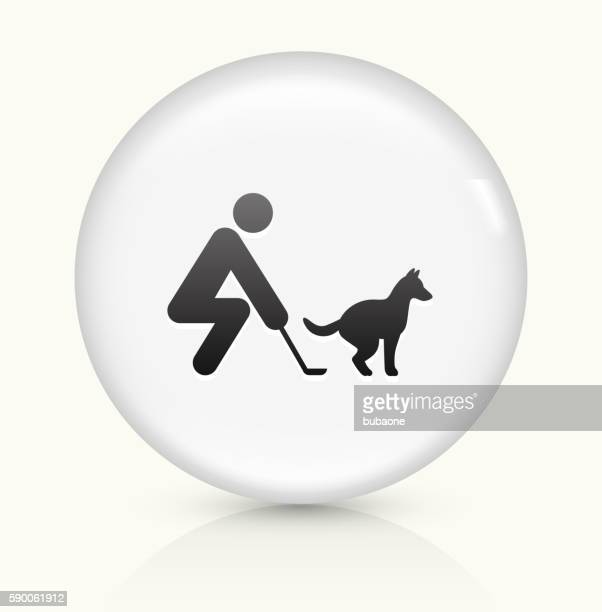 curb your dog icon on white round vector button - scoop shape stock illustrations, clip art, cartoons, & icons