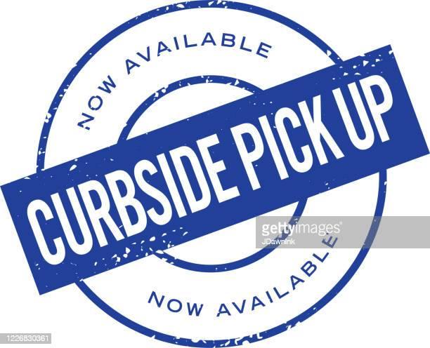 curbside pick up round stamp label design - curbside pickup stock illustrations
