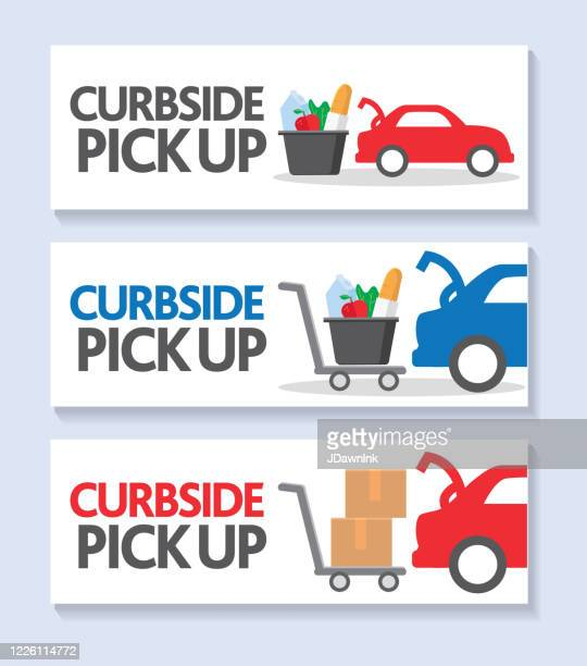 curbside pick up web banner template set car with open truck groceries or cardboard box in a shopping cart - curbside pickup stock illustrations