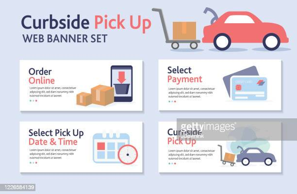 curbside pick up web banner template - curbside pickup stock illustrations