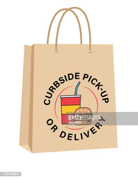 curbside take-out or delivery bags with burger and soda - fast food stock illustrations