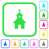 Curch vivid colored flat icons