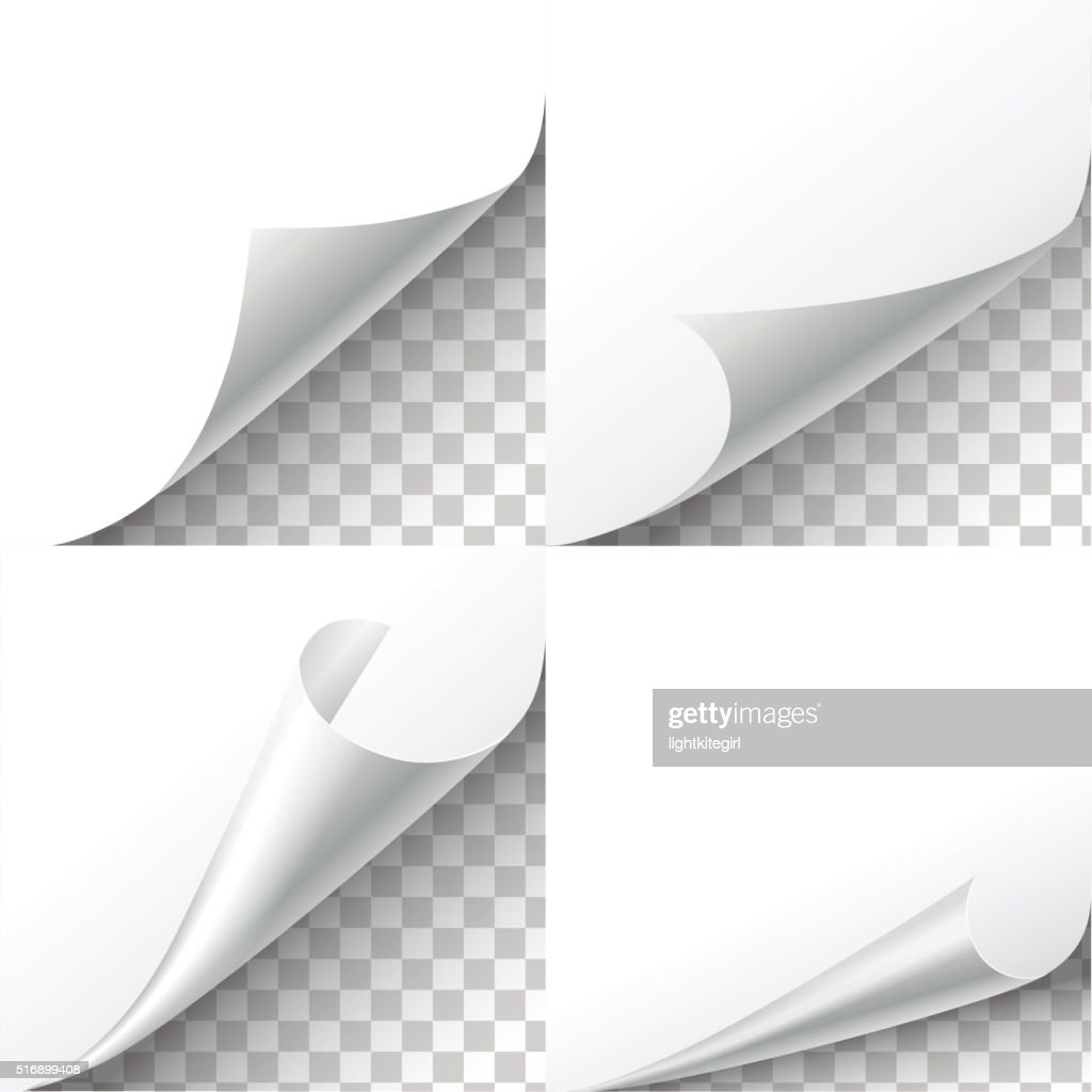 Curl paper corners vector set on transparent background.