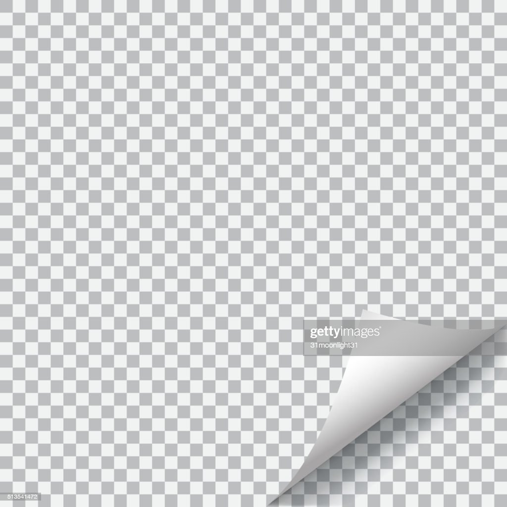 Curled corner of paper on transparent background