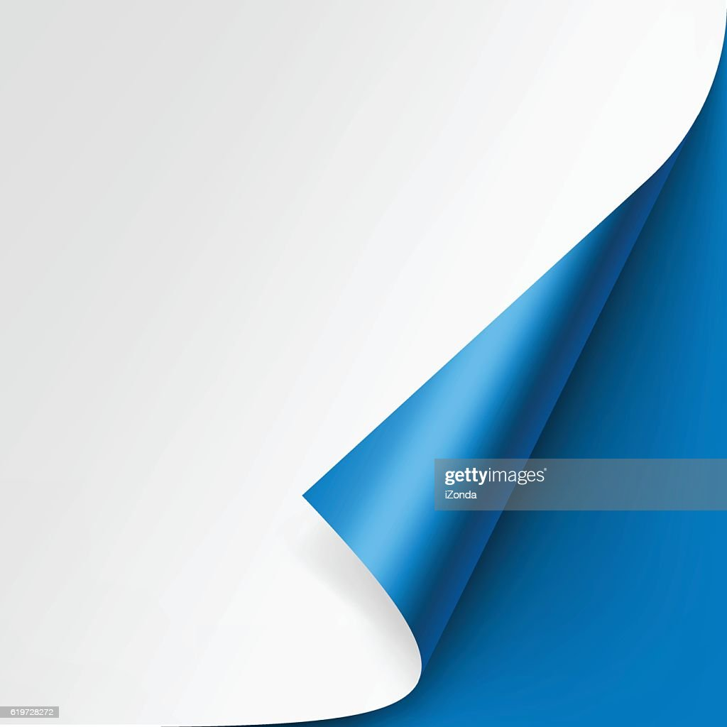 Curled corner of White paper on Blue Background