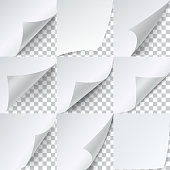 Curled corners paper set, advertising sticker template