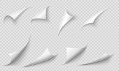 Curled page corner. Paper edges, curve pages corners and papers curls with realistic shadow vector illustration set