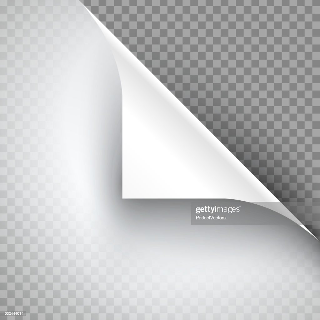 Curled Page Corner with Shadow on Transparent Background