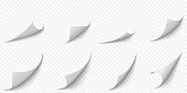 Curled paper corners. Curve page corner, pages edge curl and bent papers sheet with realistic shadow vector illustration set