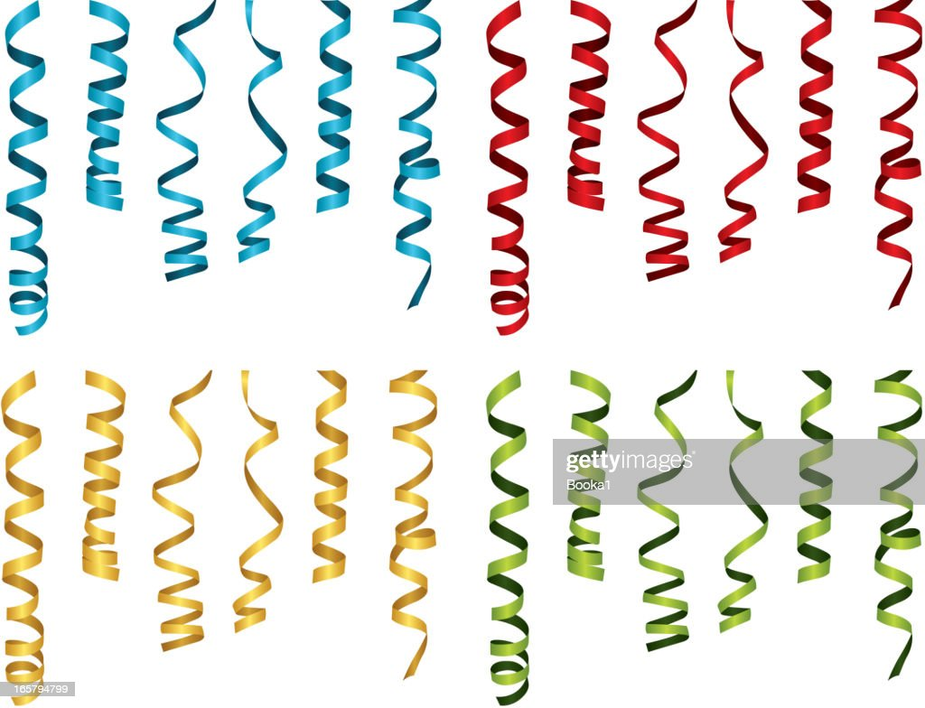 Curled party ribbons in blue, red, yellow, and green