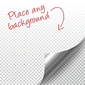 Curled silver page corner with shadow on transparent background