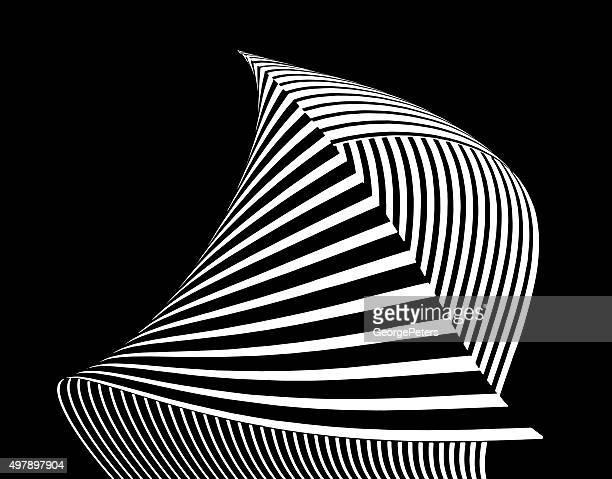 entspannt, gestreifte halbton formen mit wellenförmigen muster mit farbverlauf - teil einer serie stock-grafiken, -clipart, -cartoons und -symbole