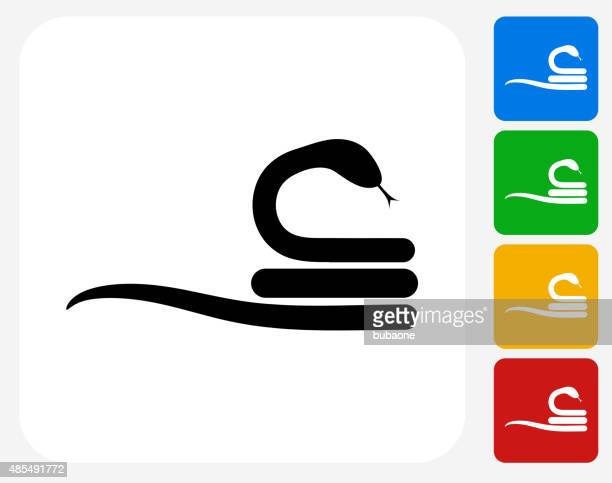 Curled Up Snake Icon Flat Graphic Design