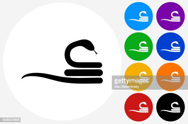 Curled Up Snake Icon on Flat Color Circle Buttons