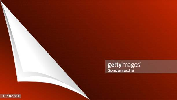 curled white and red paper corner mockup template - paperboard stock illustrations