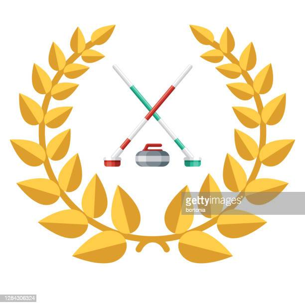 curling award icon on transparent background - winter sports event stock illustrations