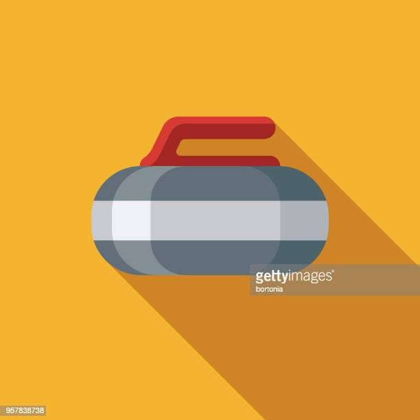 curling flat design sports icon with side shadow - curling sport stock illustrations