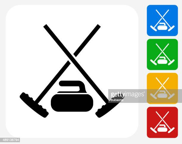 curling gear icon flat graphic design - curling sport stock illustrations