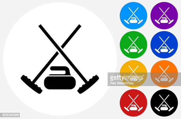 curling gear icon on flat color circle buttons - curling sport stock illustrations