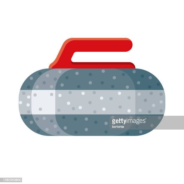 curling icon on transparent background - winter sport stock illustrations