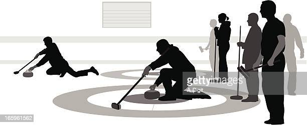 curling rings vector silhouette - curling sport stock illustrations