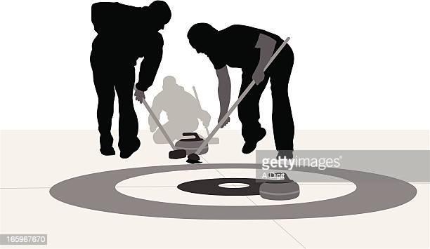 curling rocks vector silhouette - curling sport stock illustrations